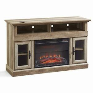 Most Current Woven Paths Farmhouse Barn Door Tv Stands In Multiple Finishes With Regard To Farmhouse Media Console Fireplace Tv Stand For Tvs Up To (View 7 of 14)