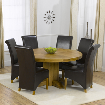 Most Popular Bromley Oak Tv Stands Inside Trina Solid Oak Round Dining Table With 6 Bromley Chairs (View 13 of 15)