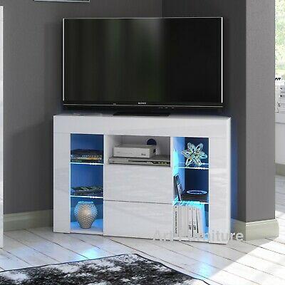 Most Popular Corona White Corner Tv Unit Stands With Corner Tv Unit Cabinet 100Cm White Gloss & Matt Led Lights (View 5 of 15)
