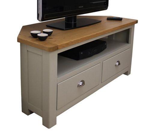 Most Popular Delphi Grey Tv Stands Throughout Aspen Painted Sage Grey Oak Corner Tv Unit / Oak Corner Tv (View 11 of 15)