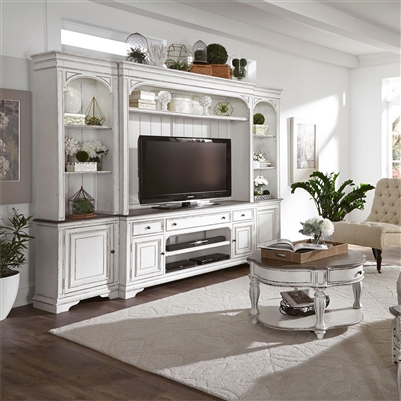 Most Popular Entertainment Center Tv Stands Reclaimed Barnwood Regarding Magnolia Manor 4 Piece Entertainment Wall In Antique White (View 15 of 15)