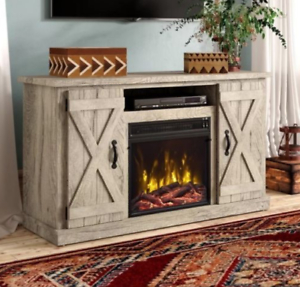 """Most Popular Fancy Tv Stands Regarding Barn Door Fireplace Rustic Country Cottage 55"""" Tv Stand (View 8 of 15)"""
