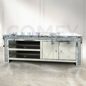 Most Popular Fitzgerald Mirrored Tv Stands Throughout Mirrored Crushed Crystal Tv Unit / Stand 150Cm – Free (View 14 of 15)