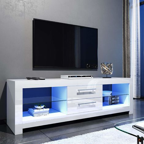 Most Popular High Gloss Tv Cabinets Inside Elegant 1600Mm Modern High Gloss Tv Stand Cabinet With Led (View 1 of 15)