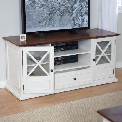 """Most Popular Lansing Tv Stands For Tvs Up To 55"""" Throughout Belham Living Hampton Tv Stand – White/Oak (View 4 of 15)"""