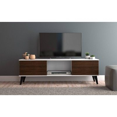 """Most Popular Manhattan 2 Drawer Media Tv Stands In 50"""" Doyers Tv Stand White/Brown – Manhattan Comfort (View 1 of 15)"""