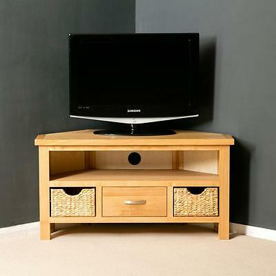 Most Popular Retro Corner Tv Stands Within London Oak Corner Tv Unit Stand With Baskets Light Solid (View 3 of 15)