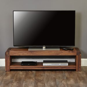 Most Popular Rustic Red Tv Stands With 130Cm Low Tv Cabinet – Retro Solid Walnut Collection (View 9 of 15)