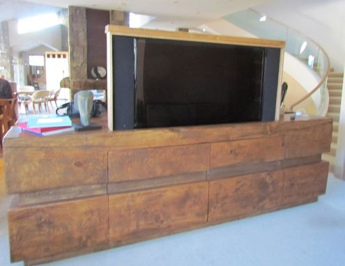 Most Popular Rustic Wood Tv Cabinets Within Handmade Rustic Log Tv Cabinet Entertainment Center With (View 6 of 15)