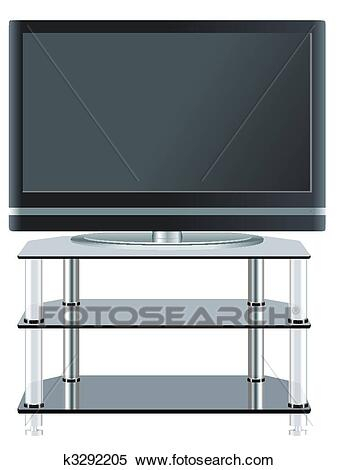Most Popular Shiny Black Tv Stands Within Clipart Of Flat Panel Television On Modern Tv Stand (View 2 of 15)