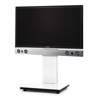 Most Popular Sonos Tv Stands Pertaining To Spectral Tray Px600Sx White Gloss Glass Tv Stand W/ Sonos (View 3 of 15)