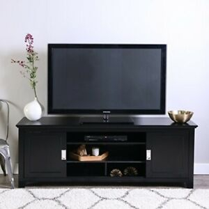 Most Popular Walker Edison Wood Tv Media Storage Stands In Black In Chic Looking Black Wood Tv Console W/Sliding Doors (View 14 of 15)