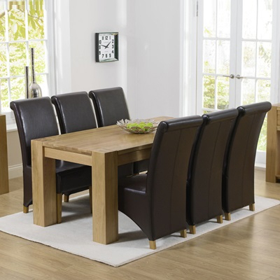 Most Recent Bromley Oak Tv Stands Pertaining To Tamia Solid Oak 180Cm Dining Table With 6 Bromley Chairs (View 9 of 15)