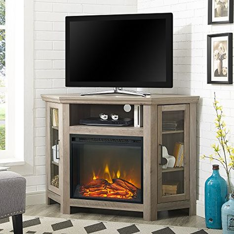 Most Recent Fireplace Media Console Tv Stands With Weathered Finish Intended For Home Accent Furnishings New 48 Inch Corner Fireplace Tv (View 1 of 15)