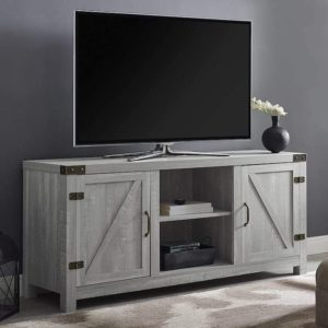 """Most Recent Jaxpety 58"""" Farmhouse Sliding Barn Door Tv Stands In Rustic Gray With Best Sliding Barn Door Tv Stand  (View 11 of 15)"""