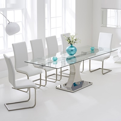 Most Recent Milan Glass Tv Stands With Ambrose Glass Extending Dining Table With 10 Milan Black (View 15 of 15)