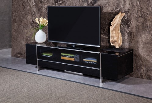 Most Recent Modern Black Tv Stands On Wheels Pertaining To Nova Domus Lorena Modern Black Tv Stand (View 1 of 15)