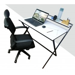 Most Recent Modern Mobile Rolling Tv Stands With Metal Shelf Black Finish Pertaining To Portable Study Table Folding White (Hd Ot 029 S W) (View 5 of 15)