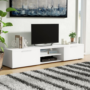 """Most Recent Modern White Gloss Tv Stands Throughout Modern Low 68"""" Tv Media Stand Entertainment Center  (View 5 of 15)"""