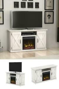 """Most Recent Rustic White Tv Stands Regarding Rustic Old White Barn Door Electric Fireplace Up To 55"""" Tv (View 5 of 15)"""