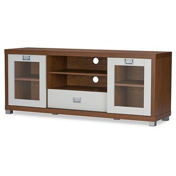 Most Recent Walnut Tv Cabinets With Doors For Matlock Modern Two Tone Tv Stand With Glass Doors Walnut (View 8 of 15)