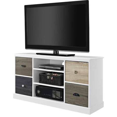 Most Recently Released Mainstays 4 Cube Tv Stands In Multiple Finishes Inside White Wood Finish Tv Stand With Multi Wood Grain Finish (View 1 of 15)