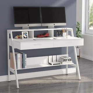 Most Recently Released Space Saving Gaming Storage Tv Stands Throughout Computer Desk With 2 Drawers, Storage Shelves And Monitor (View 1 of 12)