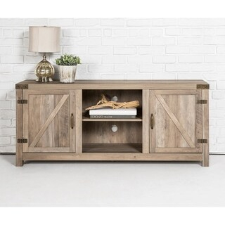 """Most Recently Released Tv Stands With Sliding Barn Door Console In Rustic Oak Intended For Shop Belleze Modern Farmhouse 58"""" Sliding Barn Door Tv (View 3 of 15)"""