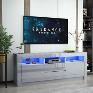 Most Recently Released Zimtown Tv Stands With High Gloss Led Lights In Modern 160Cm Tv Unit Cabinet Stand Grey High Gloss Drawers (View 5 of 15)