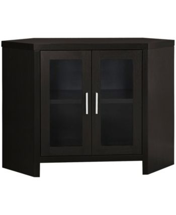 """Most Up To Date Corner Tv Cabinets With Glass Doors In Monarch Specialties 42"""" L Tv Stand & Reviews – Furniture (View 5 of 15)"""