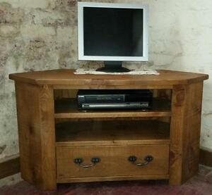Most Up To Date Corona Grey Corner Tv Stands For Solid Real Wood Corner Tv Unit Cabinet Stand Chunky Rustic (View 1 of 15)
