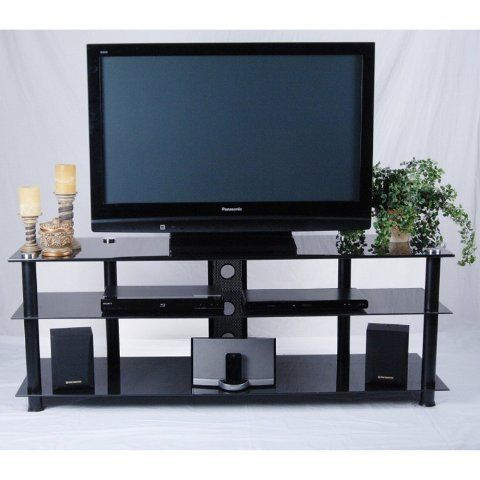 Most Up To Date Dillon Black Tv Unit Stands Regarding Tier One Designs Black Glass And Aluminum Tv Stand With (View 1 of 15)