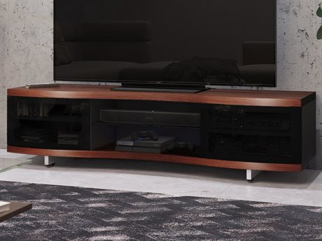 Most Up To Date Enclosed Tv Cabinets With Doors In Bdi Ola 69'' X 21'' Chocolate Stained Walnut Triple Wide (View 5 of 15)