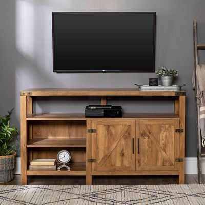 """Most Up To Date Modern Farmhouse Style 58"""" Tv Stands With Sliding Barn Door Regarding 58"""" Barnwood Rustic Highboy Tv Console (View 9 of 15)"""