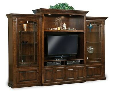 Most Up To Date Tv Cabinets With Glass Doors Throughout Amish Tv Entertainment Center Solid Wood Media Wall Unit (View 11 of 15)