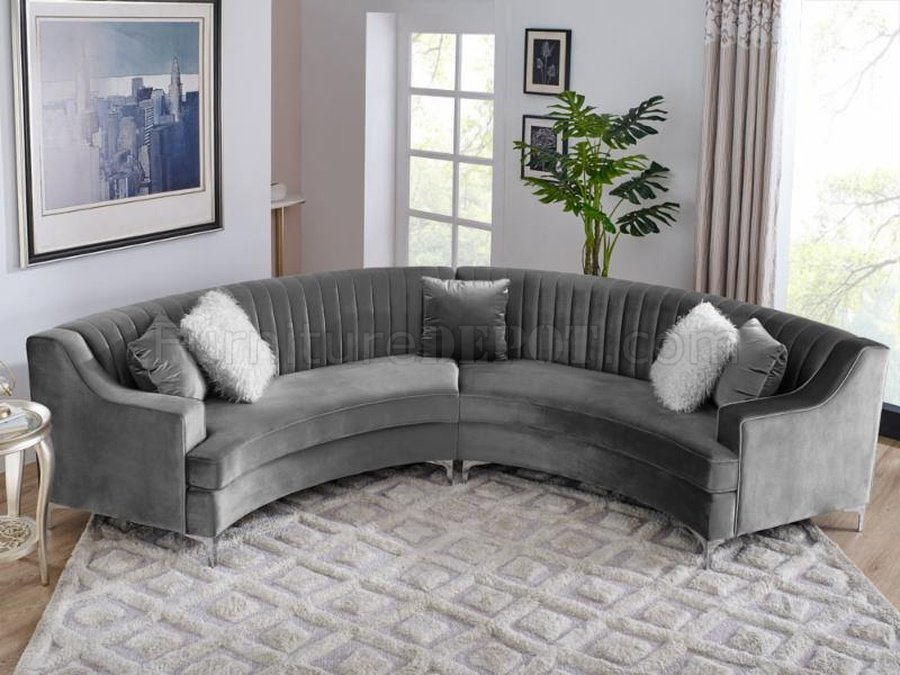 Ms2071 Sectional Sofa In Grey Velvetvimports Pertaining To Noa Sectional Sofas With Ottoman Gray (View 6 of 15)
