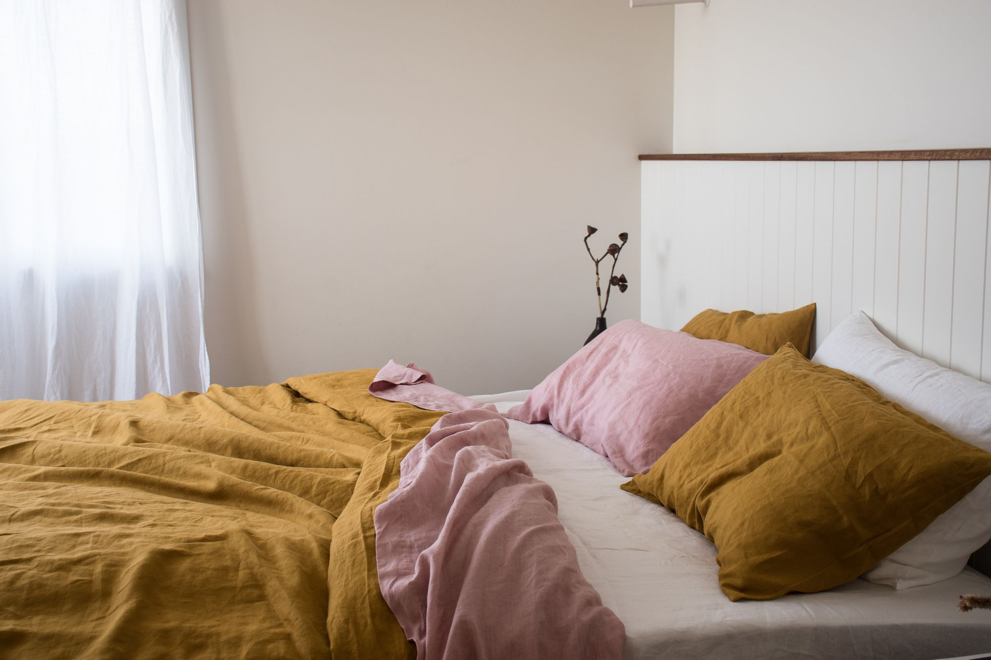 Mustard French Linen In 2020 | Bed Linen Sets, Diy Sofa For French Seamed Sectional Sofas Oblong Mustard (View 13 of 15)