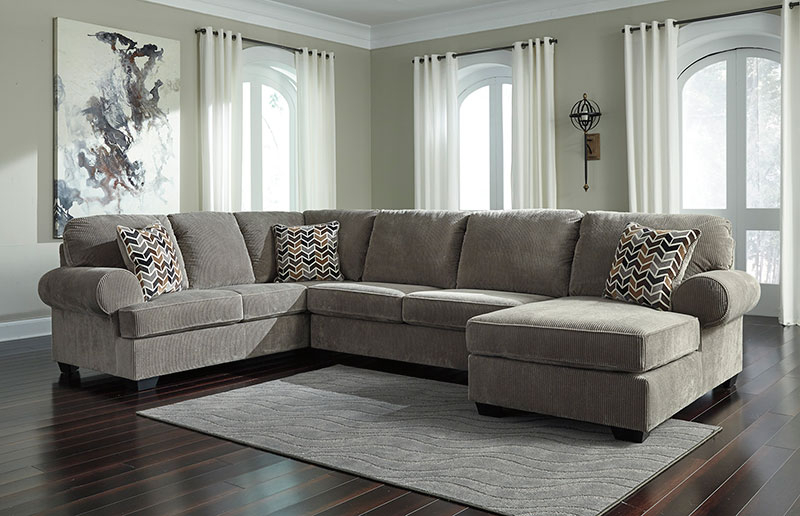 New Large Sectional Living Room Gray Corduroy Fabric Sofa Regarding Oversized Sectional Sofas (View 10 of 15)