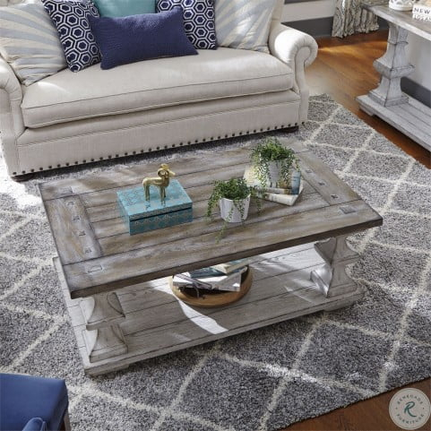 Newest Coffee Tables And Tv Stands Matching Throughout Sedona Heavy Distressed White Cocktail Table From Liberty (View 9 of 15)