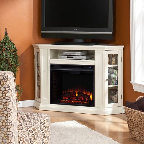 Newest Compton Ivory Corner Tv Stands Throughout Media Corner Fireplace Console Transitional Adjustable (View 15 of 15)