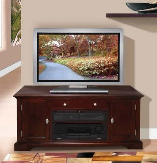 Newest High Glass Modern Entertainment Tv Stands For Living Room Bedroom Inside Dark Cherry Finish Contemporary Tv Stand With Storage Cabinets (View 2 of 15)