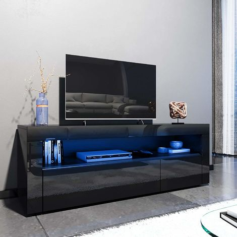 Newest Modern Black Floor Glass Tv Stands With Mount Intended For Elegant 1200Mm Modern Black Gloss Tv Unit Stand With Led (View 5 of 15)