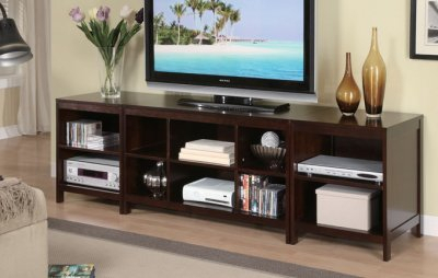 Newest Tv Stands And Bookshelf Inside Dark Espresso Finish Modern 3Pc Tv Stand W/Storage Shelves (View 5 of 15)