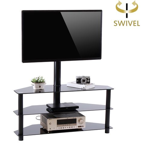 """Newest Whalen Furniture Black Tv Stands For 65"""" Flat Panel Tvs With Tempered Glass Shelves In Rfiver Black Corner Floor Tv Stand With Swivel Mount (View 10 of 15)"""
