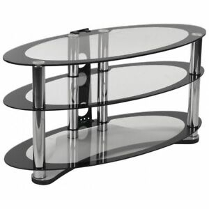 """Newest Whalen Furniture Black Tv Stands For 65"""" Flat Panel Tvs With Tempered Glass Shelves Pertaining To Flash Furniture Nan Opal Gg Tv Stand,Two Tone Glass (View 3 of 15)"""