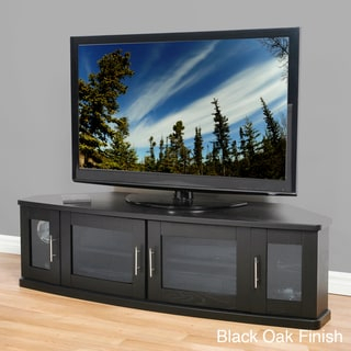 Newport Corner Wood 60 Inch Tv Stand – Overstock™ Shopping Pertaining To Favorite Corner Tv Cabinets With Glass Doors (View 8 of 15)