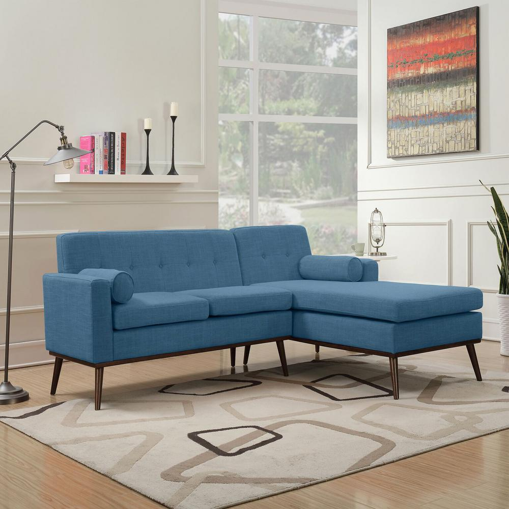 Noble House 2 Piece Muted Blue Fabric Chaise Sectional Within Dulce Mid Century Chaise Sofas Dark Blue (View 10 of 15)