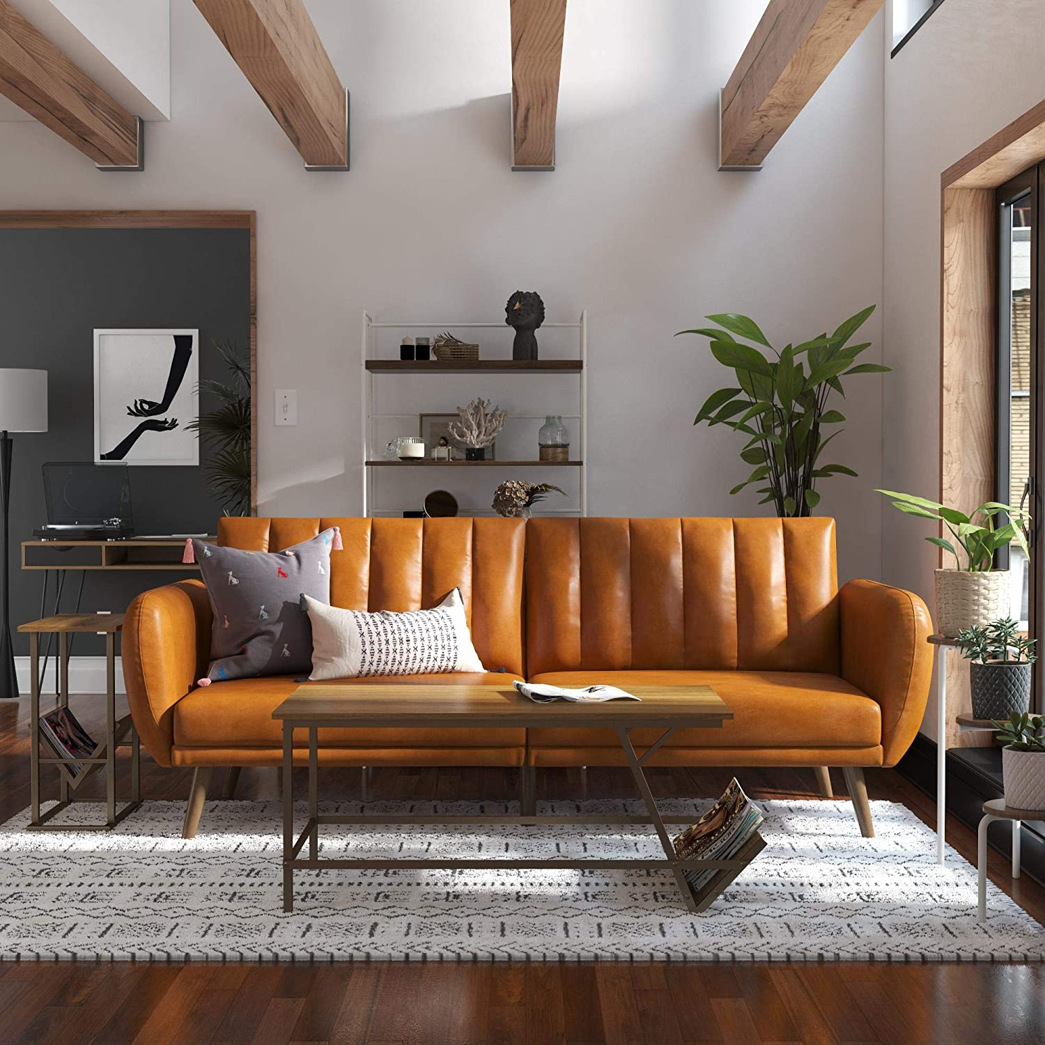 Novogratz Brittany Futon, Convertible Sofa & Couch, Camel Intended For Brittany Sectional Futon Sofas (View 4 of 15)