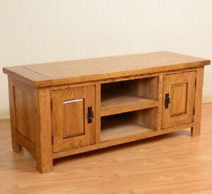 Oak Tv Stand Solid Wood 2 Door Tv Cabinet Table Storage Inside Best And Newest Rustic Wood Tv Cabinets (View 5 of 15)