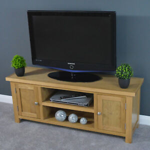 Oak Wide Tv Stand / Large Tv Cabinet / Solid Wood / Plasma Regarding Well Known Bromley Extra Wide Oak Tv Stands (View 9 of 15)